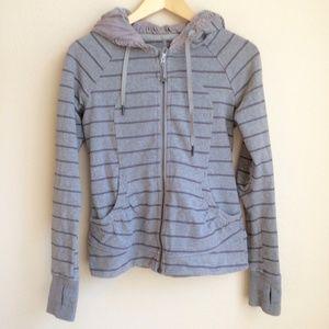 lululemon grey striped scuba hoodie sz 4 (XS)